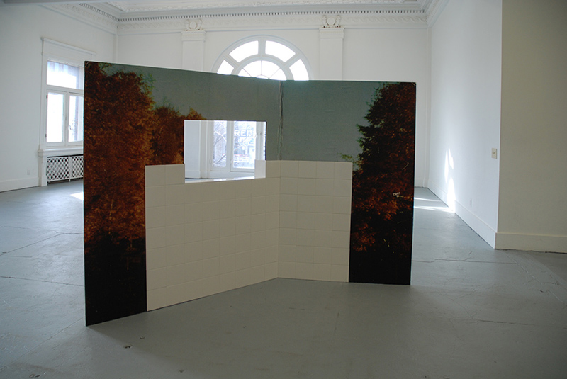 piele, 2012 - 2013 -Cardboard, photomural, tiles 190 x 285 cm (3 pieces) Land of Tomorrow, Louisville