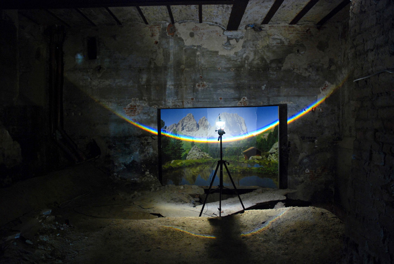 Unflattened, 2012 Photomural, prism, light 200x300 cm Kasteel D'Aspremont-Lynden, Rekem, BE Land of Tomorrow, Louisville, US